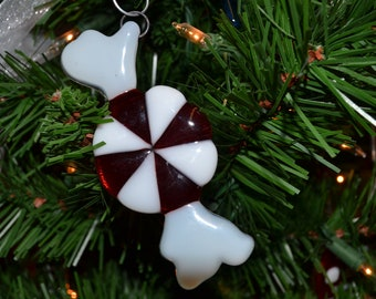Peppermint Christmas Ornament, Fused Glass, Glass Candy, Ornament, Red and White