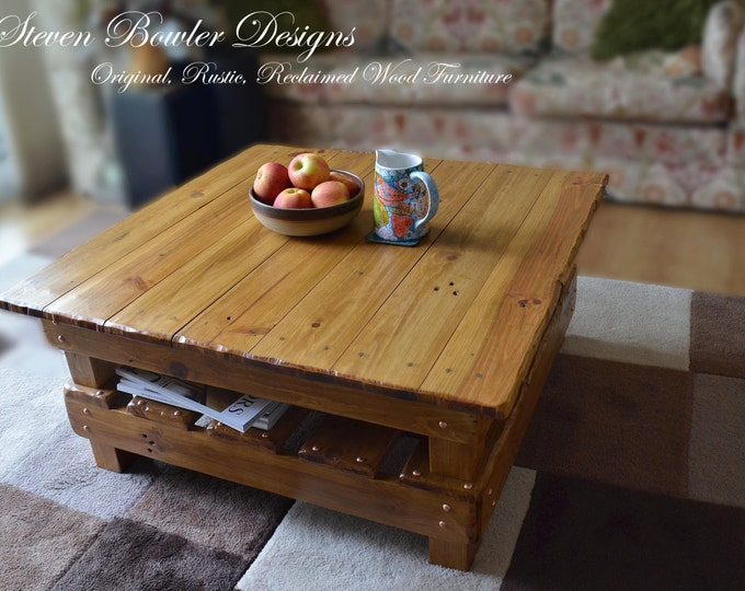 Bespoke Country Cottage Rustic Reclaimed Wood Coffee Table Light Oak Stain Decorative Copper Tacks & Under Shelf Storage