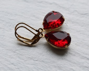 Ruby Earrings, Red Earrings, Garnet Earrings, Jewel Earrings. July Birthstone, January Birthstone, July Birthday Gift
