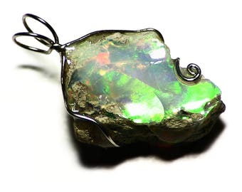 Opal Pendant White Gold (15.5 ct) Green Fire Ethiopian Opal Necklace, Raw Opal Jewelry, White Gold Opal Rough Wire Wrap Pendant