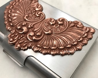 Victorian Wings Stainless Steel Business Card Case - Old Rose Ox Brass Stamping -  Insurance Included