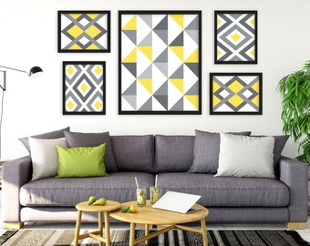 Printable Art, Yellow and Gray Art, Geometric Prints, Gallery Art Prints, Digital Prints, INSTANT DOWNLOAD Art, Gallery Wall Art, Art Set