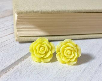 Sparkling Yellow Flower Stud, Yellow Rose Stud, Glitter Druzy Flower Stud, Surgical Steel Stud, Sunshine Yellow Flower Stud (SE9)