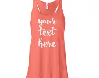 Custom Tank Top, Custom Glitter Racerback Tank, Design Your Own Tank, Your Text Here, Personalized Glitter Shirt