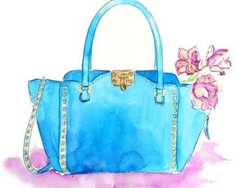 Fashion Illustration Print, Valentino Bag Illustration, Watercolor Art, Blue Valentino Bag Print, Fashion Art, Studded Valentino Bag