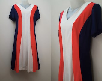 1960s Dress / 60s Mod Red, White, and Blue Sweater Dress