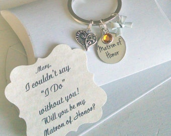 Matron of Honor Proposal, Matron Of Honor Ask. Bridesmaid Gift, Bridesmaid Proposal, Bridesmaid Ask, Be My Bridesmaid, Keychain, Charm TINY