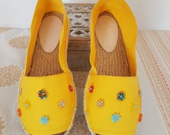 Organic cotton espadrilles, Vegan shoes, Yellow sandals, boho shoes, wedges espadrilles, beach sandals, hippie shoes, embroidered espadrille
