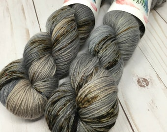 Hand Dyed Yarn on Merino cashmere Nylon MCN  - Cobblestone - brown gray speckled