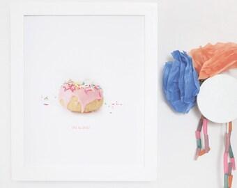 Donut Wall Art, Kids Wall Art, Girls, Poster, Decor, Framed Art Print, White Frame, 8x10 16x20, Modern, Sweet, Pink. Life is Sweet Print