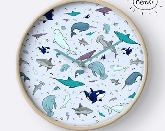 Ocean Clock, Whale Room, Whale Bedroom, Whale Nursery Gift, Whale Nursery, Whale Birthday Gift, Whale Home Gift, Whale Gifts for Her