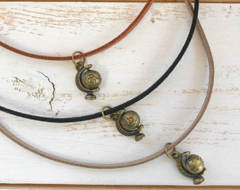 Faux Suede Choker with Globe Charm