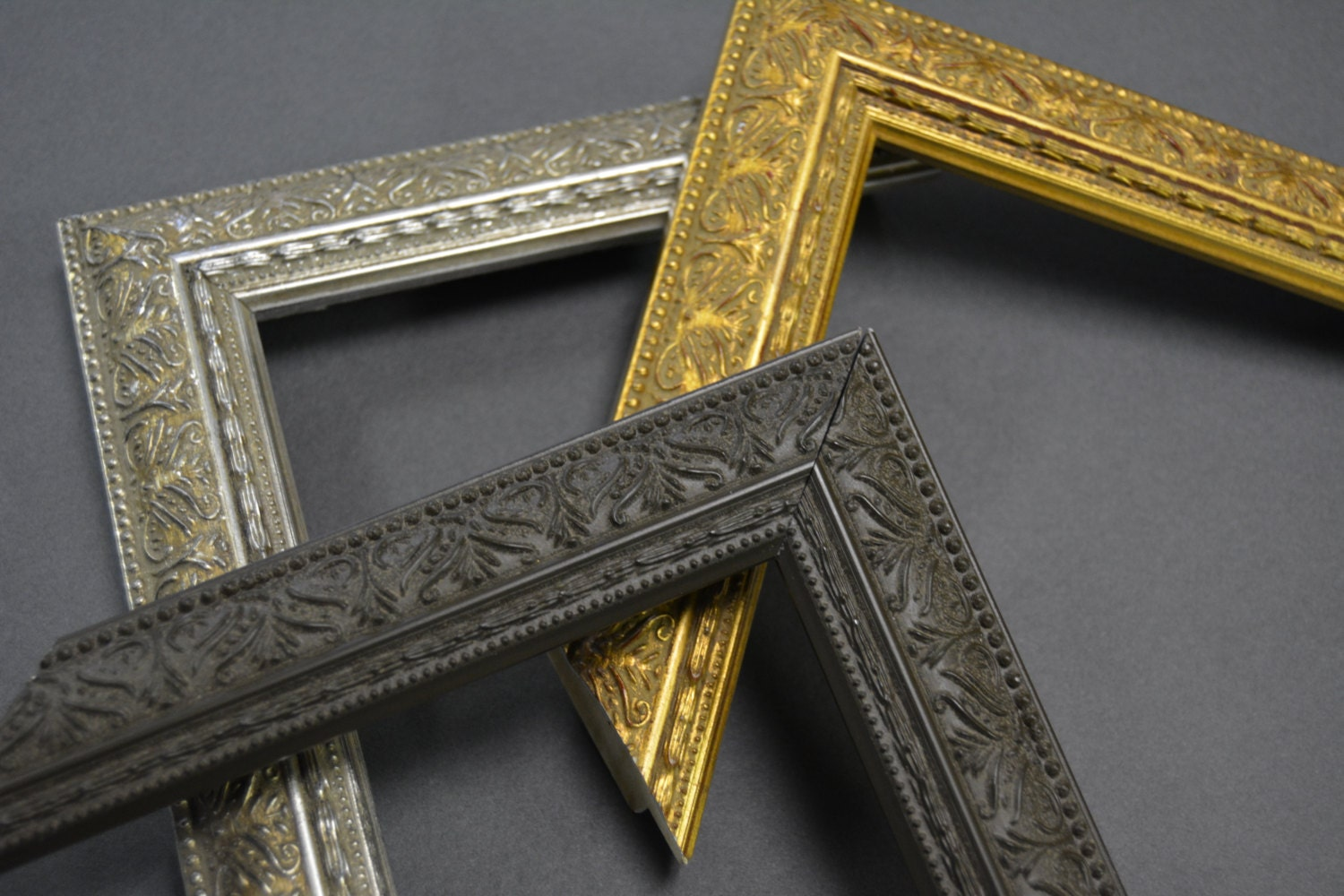 10 x 13, 11 x 14, 12 x 16 Ornate Vintage Gold, Silver, Brown Picture ...