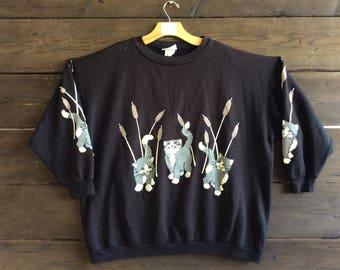 Vintage 80s Kitten Graphic Sweatshirt