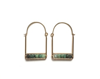 MINA- Minimalist Square Emerald Beaded Hoops / / Handmade Green Ombre Gemstone Rectangle Earrings in 14k Gold Fill or Sterling Silver