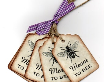 Tag Wedding Wish Favor  Meant Too Bee Vintage French Shabby Chic