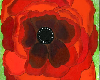 Poppy Print, Large Poppy Print, flower art, Orange Flower, Bold Flower Print, Red Flower, Mixed Media Art, 7.5 X 7.5, Here's My hART Studio