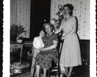 Vintage Snapshot photo Julie Christmas Tree Packages Mom Grandama 1956