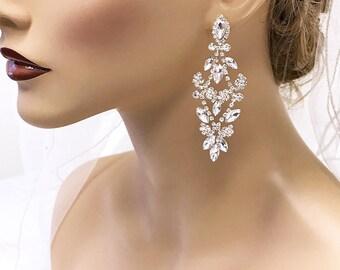 Bridal earrings, Wedding earrings, Bridal jewelry, Wedding jewelry, crystal chandelier evening earrings,Prom earrings, Rose Gold earrings