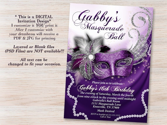 sweet 16 masquerade invitations Josemulinohouseco