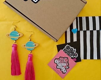 PRE ORDER Planet Tassel Earrings. Saturn. Ringed Planet Earrings. Pink Tassel Earrings. Laser Cut Plastic. Dangle Earring. Space.