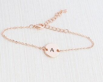 Rose Gold initial Bracelet, Rose Gold Bracelet, Personalised Disc Bracelet, Initial Bracelet, Stacking Bracelet, Dainty bracelet