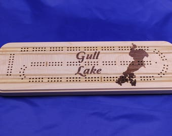 Cribbage Board, Gull Lake Minnesota, With Pegs and Peg Storage, Cass County Brainerd MN, Lake Home Gift