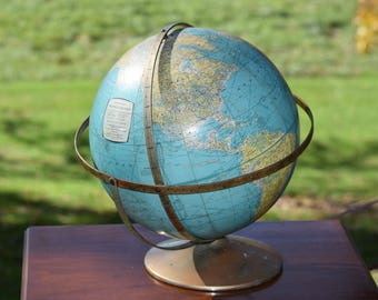 "Vintage Rand McNally 12"" World Globe - Triple Axis - USSR, Vintage Office Decor, Vintage World Globes"