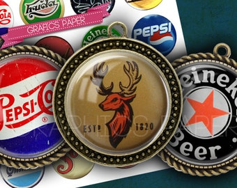 "Beer caps vintage- digital collage sheet - td164 - 1.5"", 1.25"", 30mm, 1 inch - Circles for bottlecaps - DIY Printable - INSTANT DOWNLOAD"