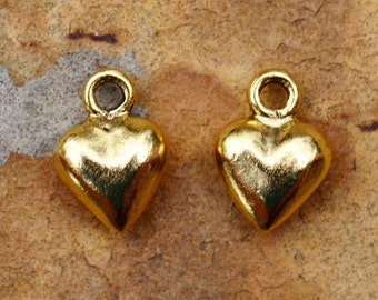 2 Antique Gold Puffed Heart Charm 12mm x 9mm Nunn Designs Low Shipping