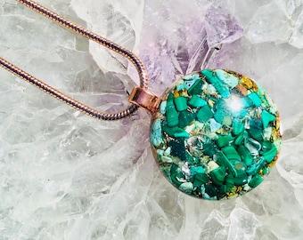 Orgonite® Orgone Pendant (Medium) - Turquoise/Quartz/Malachite - FREE WORLDWIDE SHIPPING!