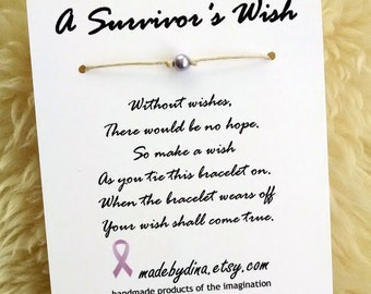 A Survivor's Wish. The Wish Bracelet for Cancer Awareness. Lavender Ribbon Edition.