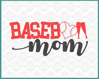 CLN0241 Baseball Mom Momma Mother Ball game Play Heart Bat SVG DXF Ai Eps PNG Vector Instant Download Commercial Cut File Cricut Silhouette