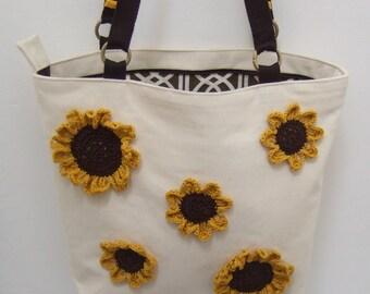 Shoulder Bag - Crochet Sunflowers
