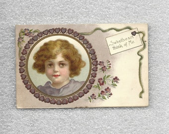 1909 Valentine's Day Postcard Sweetheart Think of Me Sweet Child Portrait in Purple Heart Frame Art Nouveau Worcester MA Postmark ~ 7755c