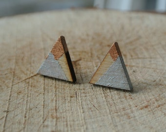 Triangle Geometric Stud Earrings - Minimalist - Asymmetrical - Asymmetry - Hand Painted Wooden Earrings - Unique and Elegant