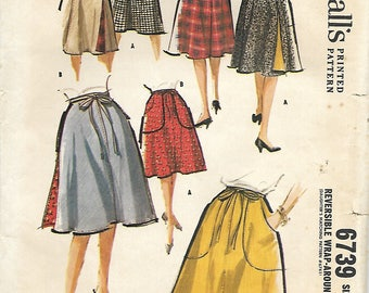 1960's McCall's 6739 , Misses Reversible Wrap Around Skirt Pattern, Size Small 10-12, Waist 24-25