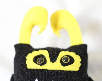 Sock Monster – Black & Yellow – Pocket Size