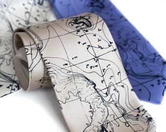 """Topographic contour map necktie. Sea floor map illustration. """"Topographical Error"""" men's tie. Silkscreened microfiber, navy blue print."""