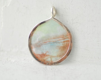Marsh Painting, Morning Mist, Minimalist Wearable Art, Nature Lover Gift, Mint Green Necklace, Ice Blue Jewelry, Water Scene Art, Unique