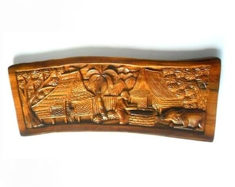 """Natural Old Teak Wood Handmade Carving Thai Village Carved Culture Home Wall Art Decor 23""""X9.25"""""""