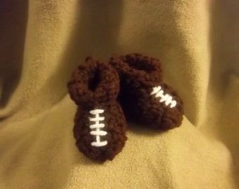 Football Baby Booties, Slippers Crochet Newborn Size