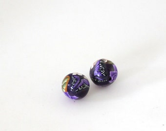 Purple Rose Beads, Polymer Clay Beads, Mauve Roses, Pair Clay Beads, 2 Pieces