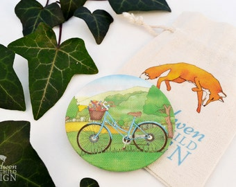 Bike Fabric Pocket Mirror, Cosmetic Mirror, Makeup Mirror, Gifts for Women, Fabric Covered Mirror, Stocking Filler, Bicycle Gifts