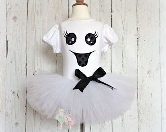 Ghost Halloween costume - ghost tutu outfit - ghost baby costume - girls ghost costume - black and white ghost outfit - ghost outfit