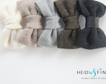 NEW Cashmere and Leather Hairbow SET of 5 Hairclip merino lvory taupe grey gray black sweater