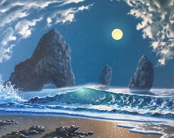 Seascape ocean Original oil painting Moonlight jade sea wave clouds 36x24in