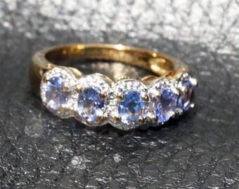 Tanzanite Ring, 14K Gold over Sterling Silver, Engagement, Wedding, Bridal, Vintage
