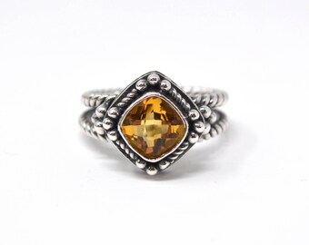 Vintage Checkerboard Cushion Yellow Citrine Granulated Cable Sterling Silver Ring - 7.75 - 594139177