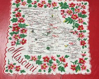 vintage state of Missouri handkerchief hankie St Louis Hannibal Kansas City